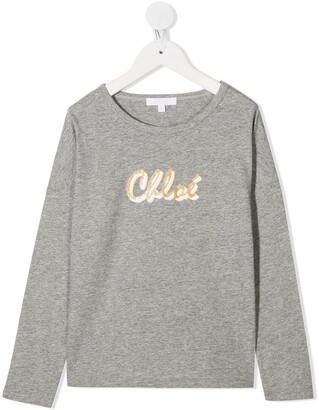 Chloé Kids logo-print cotton T-shirt
