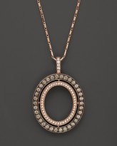 Bloomingdale's Brown and White Diamond Oval Pendant Necklace in 14K Rose Gold, 1.0 ct. t.w.