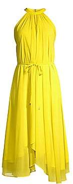 Saloni Women's Iris A-Line Halter Hankerchief Dress
