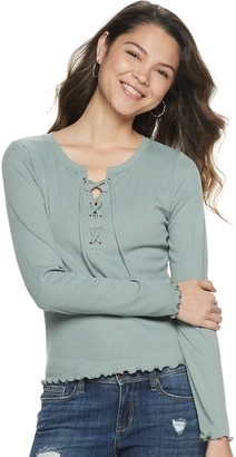 Juniors' Pink Republic Ribbed Tie Front Long Sleeve Tee