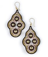 Miguel Ases Designer Beaded Leather Dangle Earrings
