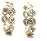 Tresor Collection - Organic Diamond Slice with White Diamond Hoop Earrings in 18k Yellow Gold