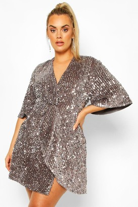 boohoo Plus Sequin Twist Front Dress