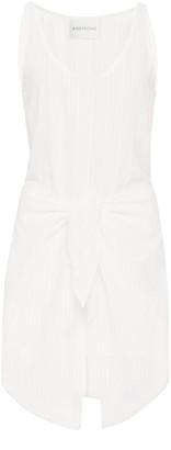 Anemos Dk Tie-Front Cotton Linen-Blend Mini Dress