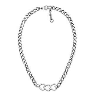 Tommy Hilfiger Women's Stainless-Steel Open Heart Trio Chain Necklace of Length 41cm