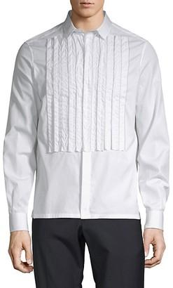 Valentino Pleated Cotton Button-Down Shirt
