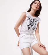 LOFT Petite Denim Flip Cuff Shorts in White