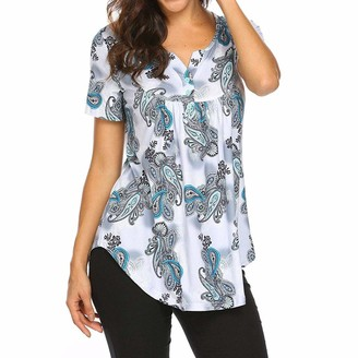 Cocila Womens Short Sleeve Print V Neck Tops Ladies Casual Loose Flare Ruffle Tunic Blouse Shirt(L