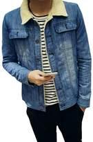 HZCX FASHION Men Winter Fall Casual Thicken Fleece Wool Lined Denim Coat Jackets