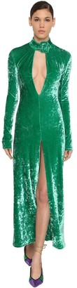 ATTICO The Stretch Velvet Dress W/ Buckle Collar