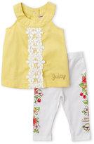 juicy couture (Newborn/Infant Girls) Two-Piece Crochet Front Top & Floral Leggings Set