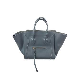 Celine Luggage Phantom Blue Leather Handbags