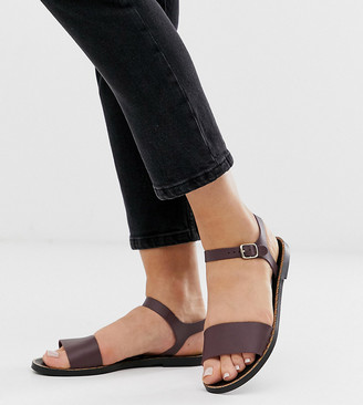 Depp wide fit leather two part flat sandal in chocolate-Brown