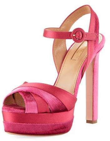 Aquazzura Coquette Velvet/Satin Platform 140mm Sandal