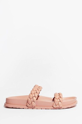 Nasty Gal Womens World At Your Feet Faux Leather Braided Sandals - Pink
