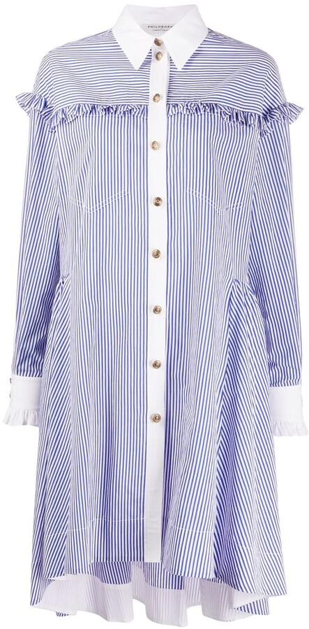 Philosophy di Lorenzo Serafini Ruffle-Trimmed Striped Shirt Dress