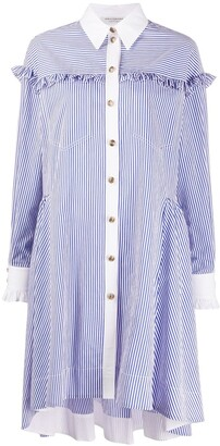 Philosophy di Lorenzo Serafini Ruffle-Trimmed Striped Shirt Dress