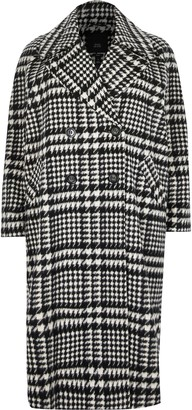 River Island Womens Plus Black check print longline coat