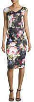 David Meister Cap-Sleeve Belted Floral Sheath Dress, Black/Pink