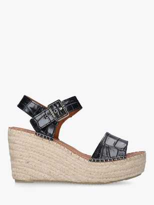 Carvela Kape Leather Wedge Sandals, Black