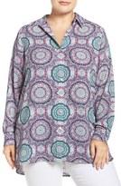 Foxcroft Plus Size Women's Medallion Print High/low Hem Shirt