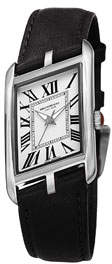 Bruno Magli Sofia Asymmetric Watch w/ Leather Strap, Black/Silver