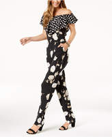 NY Collection Petite Mixed-Print Off-The-Shoulder Jumpsuit