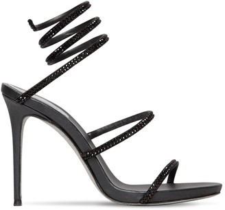 Rene Caovilla 105mm Embellished Snake Satin Sandals