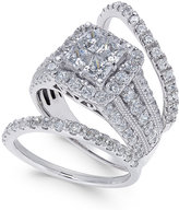 Macy's Diamond 3-Pc. Bridal Set (3 ct. t.w.) in 14k White Gold