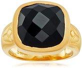 Satya Jewelry Black Onyx Square Lotus Ring, Size