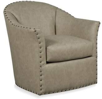 Bosley Swivel Barrel Chair Fairfield Chair Body Fabric: 8789 Bark, Nailhead Detail: Brass