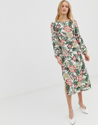 Glamorous midi tea dress in tropical print