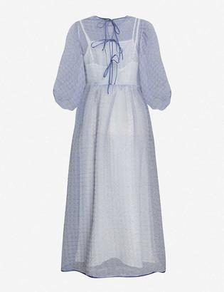 Cecilie Bahnsen Karmen semi-sheer silk-blend midi dress