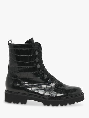 Gabor Babs Patent leather Croc Biker Boots, Black