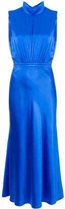 Saloni turtleneck silk dress