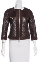 Tory Burch Suede-Trimmed Leather Jacket