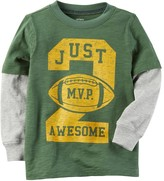 """Carter's Boys 4-8 Just 2 Awesome"""" Football Mock Layer Graphic Tee"""