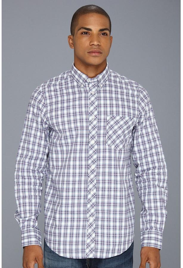 Ben Sherman Laundered Oxford Tartan Check L/S Woven Shirt (Blanc De Blanc) - Apparel