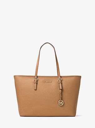 MICHAEL Michael Kors MK Jet Set Medium Saffiano Leather Top-Zip Tote Bag - Acorn - Michael Kors