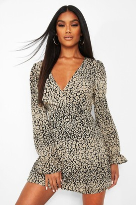 boohoo Leopard Print Cut Out Back Long Sleeve Playsuit