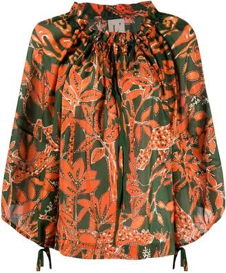 L'Autre Chose Silk Floral Print Blouse