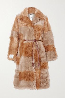 Stella McCartney + Net Sustain Adrienne Belted Patchwork Fur-free-fur Coat - Brown
