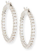 Fantasia Open Weave Yellow & White CZ Hoop Earrings