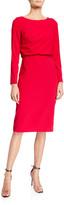 Badgley Mischka Asymmetrical Keyhole Back Sheath Dress