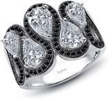 Lafonn Platinum & Black Rhodium Plated Sterling Silver Prong Set Pear Cut Simulated Diamond Ring
