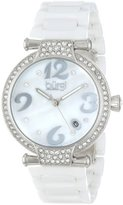 Burgi Women's BUR071WT Quartz Date Ceramic Bracelet Watch