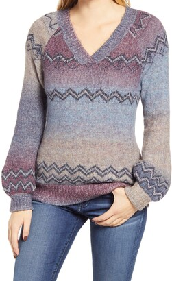 Wit & Wisdom V-Neck Metallic Jacquard Space Dye Sweater