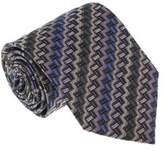 Missoni U4529 Brown/blue Chevron 100% Silk Tie.