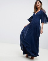 Asos Design DESIGN pleated paneled flutter sleeve maxi dress with lace inserts