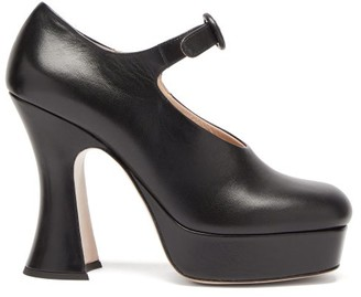 Miu Miu Curved-heel Leather Platform Mary Jane Pumps - Black